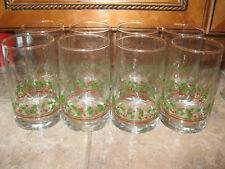 Vintage Arby's promotional drinking glasses set of 8 holly Christmas
