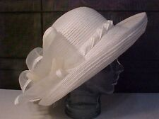 White Straw BETMAR Womens spring/summer Hat Tulle/Feathers Wedding/Church