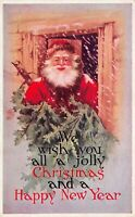 Christmas Postcard Santa Claus Bringing In A Tree From The Snow~125546