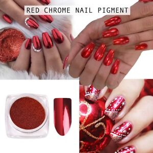 Red Mirror Powder Chrome Platinum Pigment Nail Art Glitter Polish Mermaid Gel