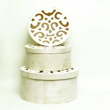Round Natural Wood Nesting Gift Boxes - Set of 3