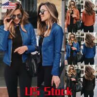 US Women Leather Slim Fit Jacket Coat Ladies Casual Zipper Biker Blazer Outwear