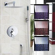 "12"" LED Chrome Bathroom Ultra Thin Square Shower Head Tap Mixer Tap Hand Sprayer"
