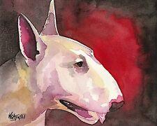 Bull Terrier Dog 11x14 signed art PRINT RJK painting