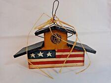 "Usa Patriotic Mini Birdhouse Figurine 3x6"" Blue Red White Stars Stripes America"