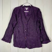 Citron Womens Purple Size XL Linen Blend Button Down Lightweight Blazer Jacket