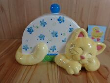 Cats in The Cupboard Cookie Jar Sleeping Cat 2000 Peter G Blank Blue Floral