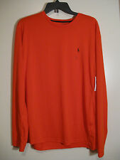 POLO Ralph Lauren Mens Long Sleeve Athletic Shirt NWT L Orange 100% Polyester