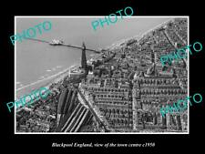 Old Large Historic Photo Of Blackpool England, View Of The Town Centre c1950