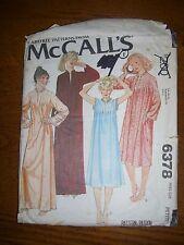 McCall's 6378 camisón y bata Talla Petite Vintage 1978