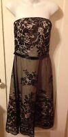 New White House Black Market Champagne Chiffon & Black Lace Pin-Up Dress Sz 8