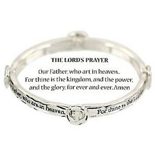 Lords Prayer Bracelet SILVER Our Father Faith Inspirational Message Religious