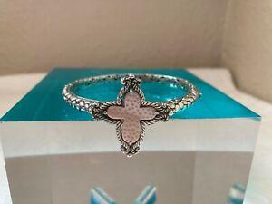 NWOT-Artisan of Bali/Sarda 20x18mm Carved Pink Mother Of Pearl Cross Bracelet