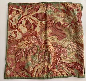 "Vintage April Cornell Floral Botanical Bird 15"" Pillow Cover Peach Coral"