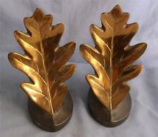 PHILADELPHIA MFG CO BRONZE & COPPER PATINA OAK LEAF BOOKENDS