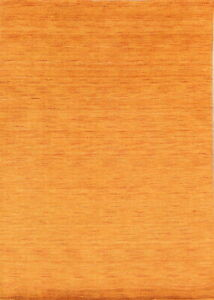 Solid ORANGE Contemporary Nepalese Gabbeh Oriental Hand-Knotted Wool Rug 5'x8'