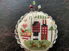 "Shepherds Bush ""LITTLE RED HOUSE"" Tin Tart Pin Cushion Handmade Cross Stitch"