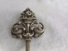 ANTIQUE JAPANESE SILVER SCROLL TOP HAIR STICK - SHIP MAKER MARK