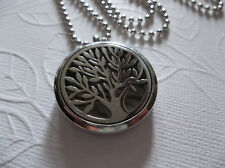 "Tree of Life Aromatherapy Locket 24"" Silver Ball Chain Necklace - Wear Scents"