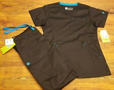 Women's Sz S Bio Long Sleeve Scrub Set Black and Blue Brand New