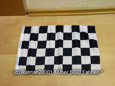 Fahne Flagge Start Ziel Karo Schwarz Weiß Stockfahne mit Hohlsaum  - 30 x 40cm