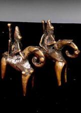 Old Tribal Pair Sao Bronze 2 Horse Rider Figure      --- Chad  BN 48