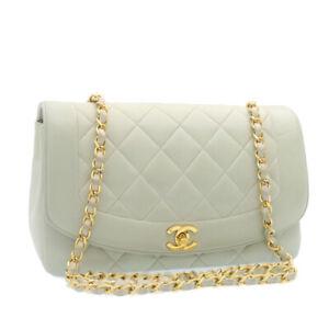CHANEL Diana Matelasse Chain Flap Shoulder Bag Light Blue Gold CC Auth 24629