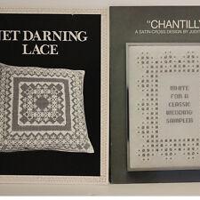 Lot Vintage Patterns Books Net Darning Lace 1982 & Chantilly Cross Stitch 1982
