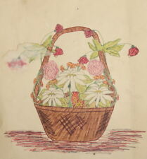 ANTIQUE WATERCOLOR PAINTING STILL LIFE BASKET WITH FLOWERS