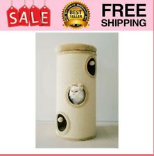 """New listing 37"""" 3 Story Cat Tree Condo Barrel Tower - Natural Sisal-Covered"""