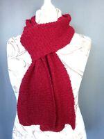 écharpe en laine crochet grosse maille fait mains Vintage 200X15 CM