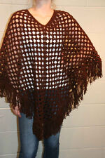 BROWN CROCHET VTG 60s 70s HANDMADE PULLOVER FRINGE PONCHO SWEATER WRAP CAPE COAT