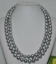 35'' 9-10mm Genuine GRAY TAHITIAN PEARL NECKLACE 14K Gold