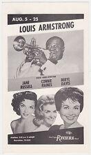 Louis Armstrong Jane Russell Authentic 1963 Concert Handbill / Postcard