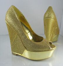 "NEW Gold Glitter 6"" High Wedge Heel Open Toe Sexy Shoes Size 6.5"