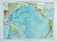 1920 LARGE MERCANTILE MARINE MAP PACIFIC OCEAN CABLES WIRELESS STATION CURRENTS