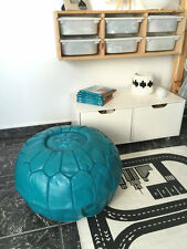 Moroccan Leather Ottoman Pouffe Pouf Footstool In Turquoise