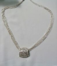 AVON SILVER & RHINESTONE PENDANT NECKLACE W, 6 FINE STRAND  FLOWING CHAINS