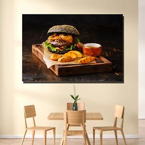 Black Burger Kitchen Dining and Cafe Decor Canvas Art Print