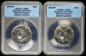 2014 D & P Kennedy Half Dollar 50C ANACS SP 68 & 69 Set of 2 Coins