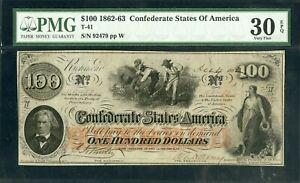 US Paper Money 1862 Confederate CSA $100 Rare T-41 NO RESERVE!
