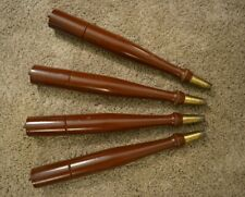"Vintage MCM Set of 4 Tapered Turned Table Legs w Brass Tips Wood 14.5"" VGC"