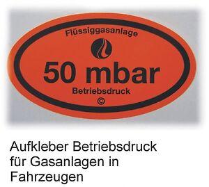 Betriebsdruckaufkleber 50 mbar Aufkleber Gas Druck Gasabnahme G 607