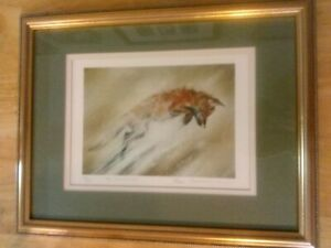 Paul Tavenor Limited Edition Framed Print . Leaping Fox.