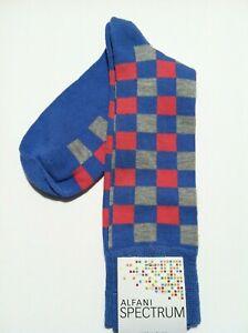 ALFANI MENS NEW BLUE RAYON BLEND PLAID DRESS SOCKS FIT SHOE SIZE: 7-12