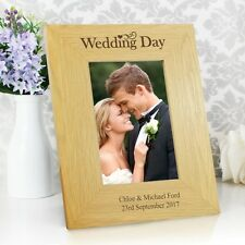 Personalised - Wooden WEDDING DAY Picture Photo Frame Anniversary Gift Present