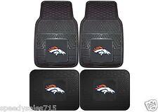 FANMATS NFL Denver Broncos Front + Rear Heavy Duty Car Mats New Free Shipping
