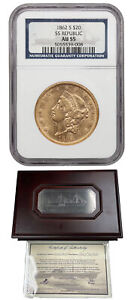 S.S. Republic: 1862-S Shipwreck $20 NGC AU55 (Box and COA)