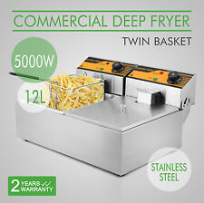 2x6L Stainless Steel Commercial Twin Double Tank Electric Deep Fat Fryer Chip