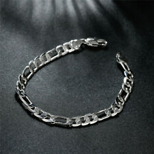 925 Silver Plated Fashion Jewelry Figaro Chain Bracelet 6 mm.